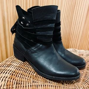 Naughty Monkey black leather suede ankle boots 6.5